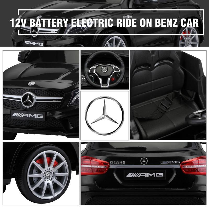 12V Mercedes Benz GLA45 Kids 2 Seater Power Wheels With Remote, Black 12v benz licensed gla45 kids electric car black 32 1