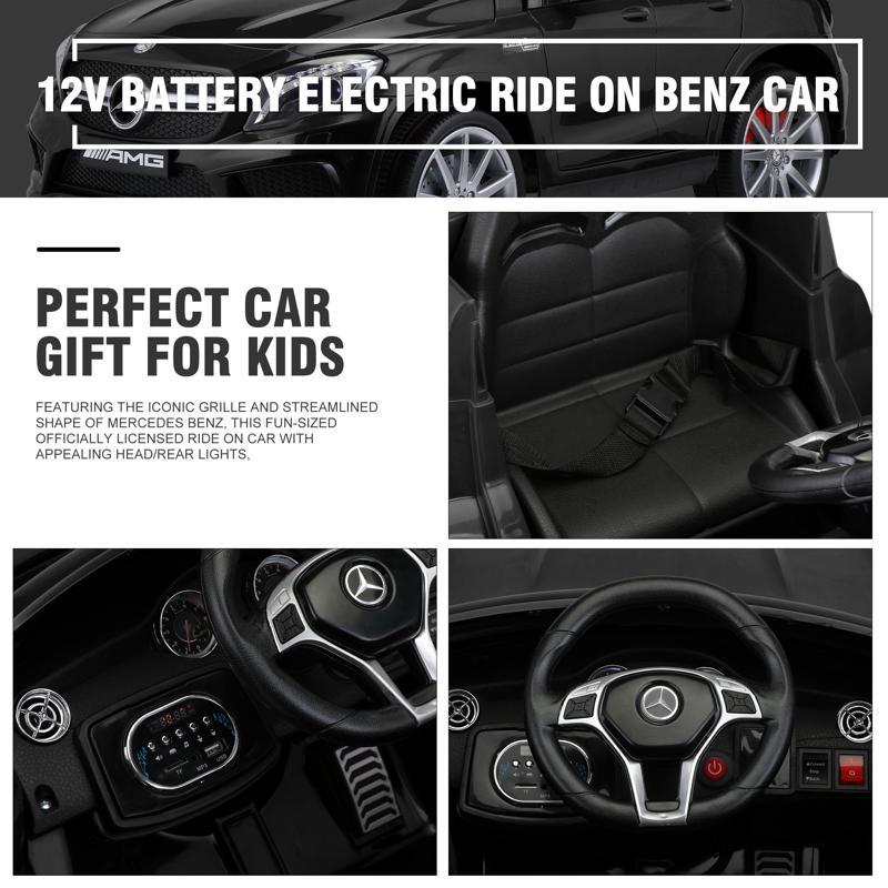 12V Mercedes Benz GLA45 Kids 2 Seater Power Wheels With Remote, Black 12v benz licensed gla45 kids electric car black 34 2