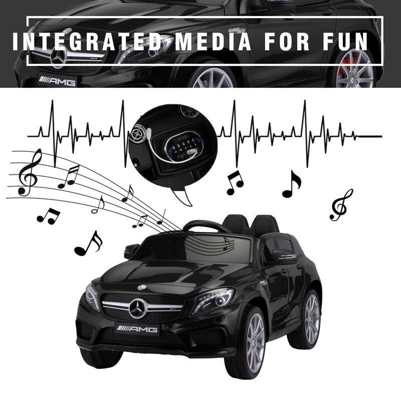 12V Mercedes Benz GLA45 Kids 2 Seater Power Wheels With Remote, Black 12v benz licensed gla45 kids electric car black 36 2