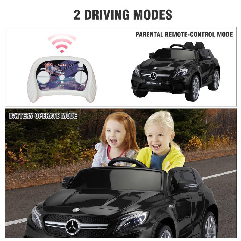 12V Mercedes Benz GLA45 Kids 2 Seater Power Wheels With Remote, Black 12v benz licensed gla45 kids electric car black 38 3