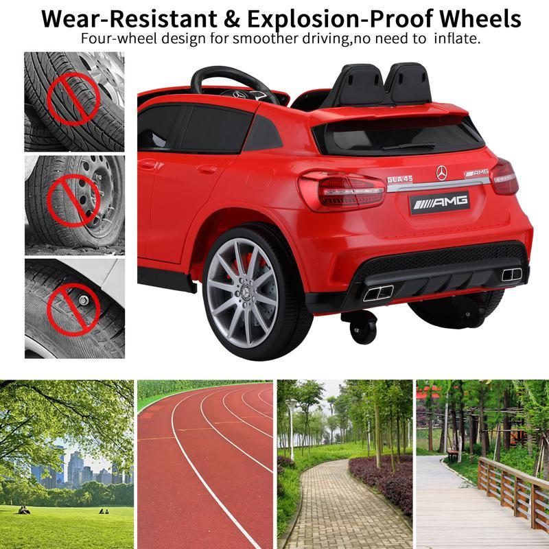 12V Mercedes Benz GLA45 Kids 2 Seater Power Wheels With Remote, Red 12v benz licensed gla45 kids electric car red 32 2