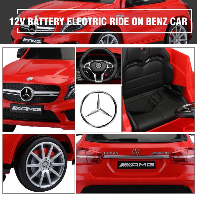 12V Mercedes Benz GLA45 Kids 2 Seater Power Wheels With Remote, Red 12v benz licensed gla45 kids electric car red 33 2