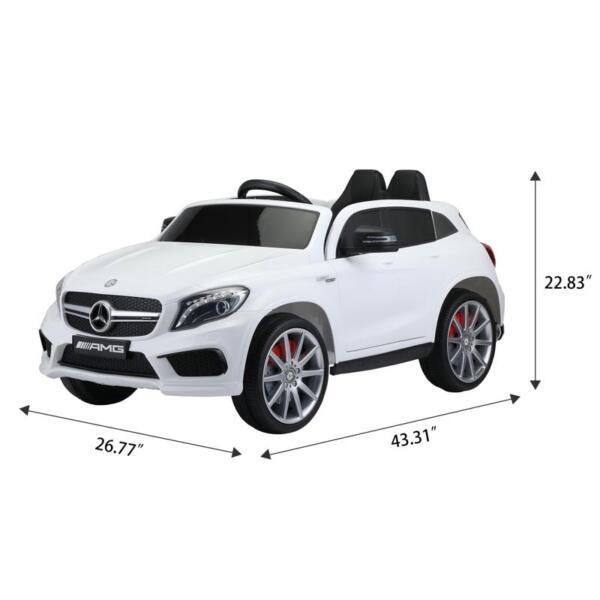 12V Mercedes Benz GLA45 Kids 2 Seater Power Wheels With Remote, White 12v benz licensed gla45 kids electric car white 10 1
