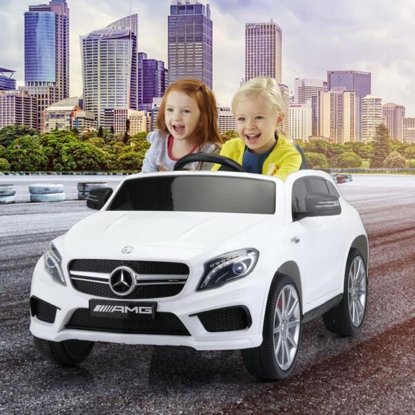 12V Mercedes Benz GLA45 Kids 2 Seater Power Wheels With Remote, White 12v benz licensed gla45 kids electric car white 11
