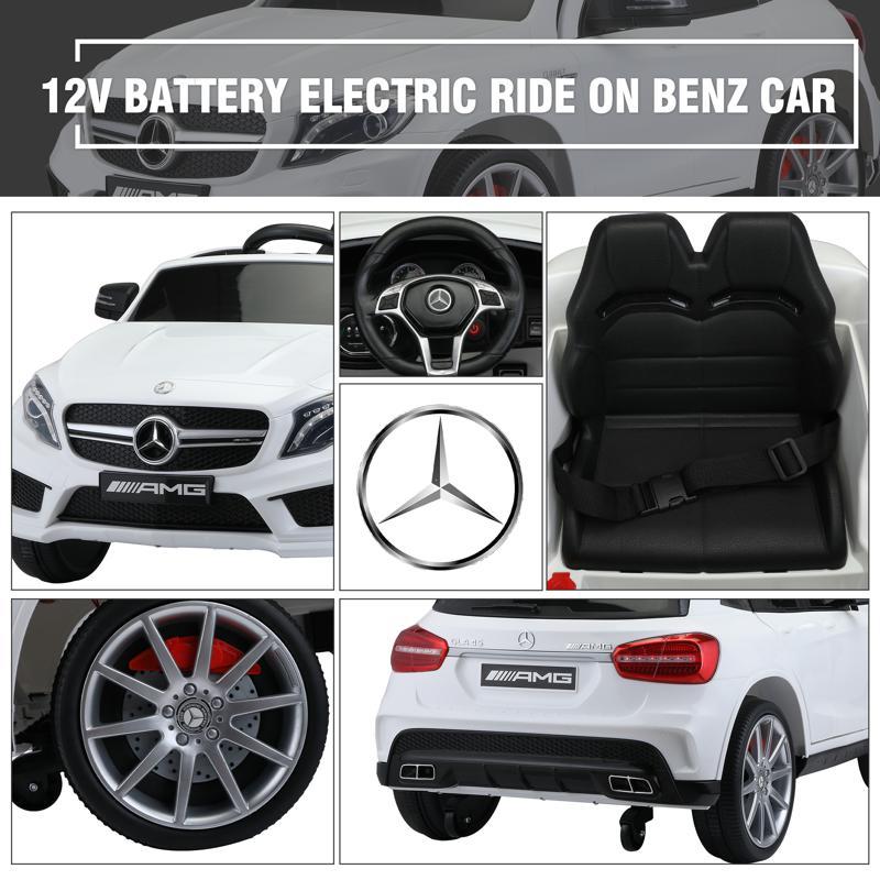 12V Mercedes Benz GLA45 Kids 2 Seater Power Wheels With Remote, White 12v benz licensed gla45 kids electric car white 30 1