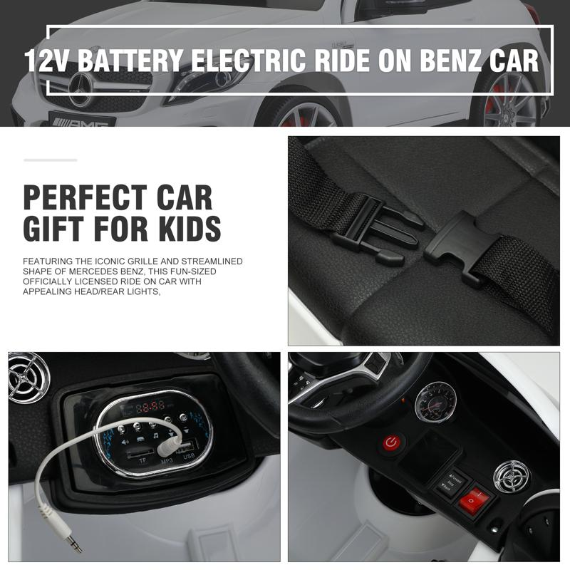 12V Mercedes Benz GLA45 Kids 2 Seater Power Wheels With Remote, White 12v benz licensed gla45 kids electric car white 32 2
