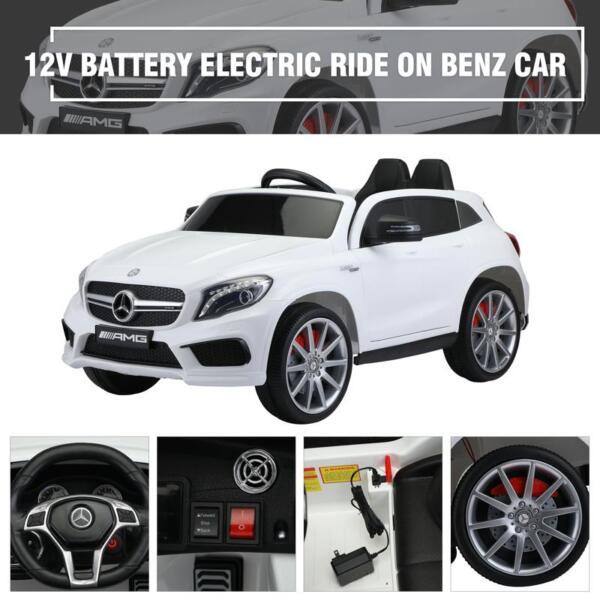 12V Mercedes Benz GLA45 Kids 2 Seater Power Wheels With Remote, White 12v benz licensed gla45 kids electric car white 33