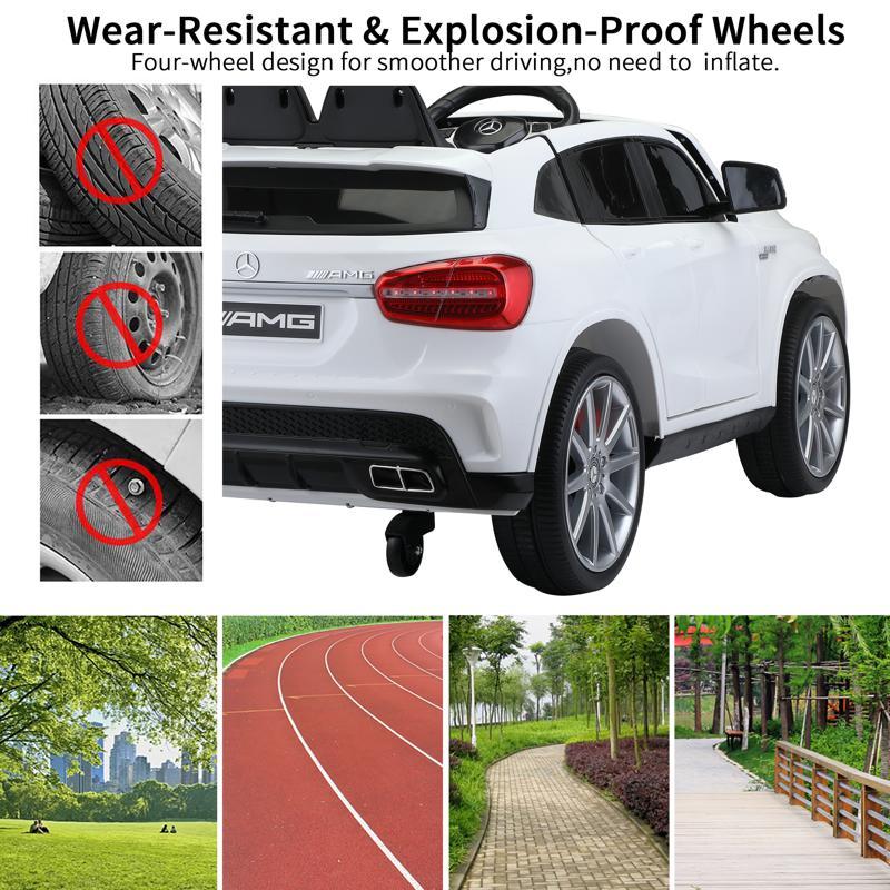 12V Mercedes Benz GLA45 Kids 2 Seater Power Wheels With Remote, White 12v benz licensed gla45 kids electric car white 34 2
