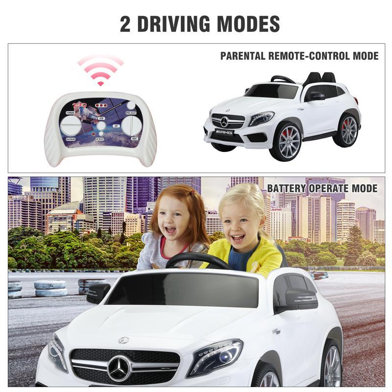 12V Mercedes Benz GLA45 Kids 2 Seater Power Wheels With Remote, White 12v benz licensed gla45 kids electric car white 38 2