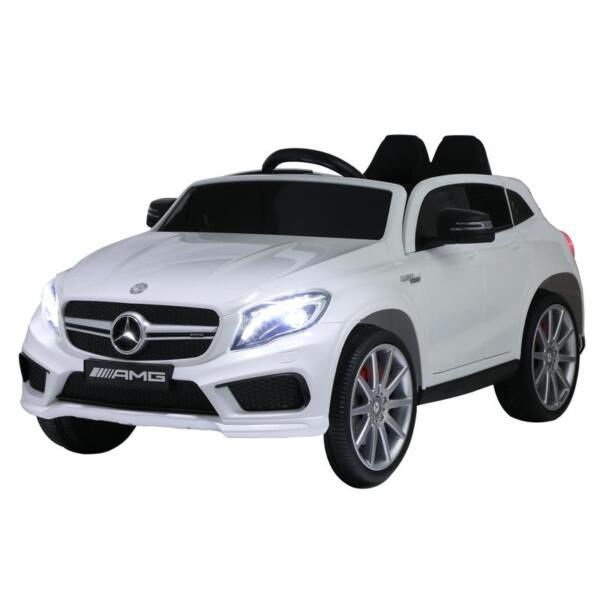 12V Mercedes Benz GLA45 Kids 2 Seater Power Wheels With Remote, White 12v benz licensed gla45 kids electric car white 8