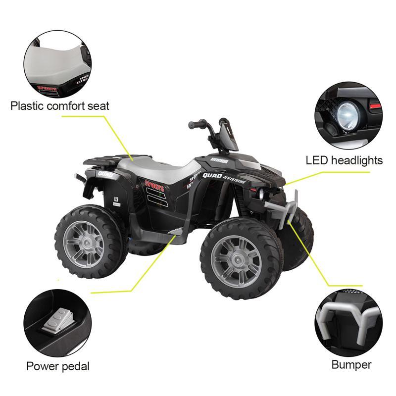 12V Battery Powered Kids Atv Ride On, Black 12v electric atv for kids black 19 1