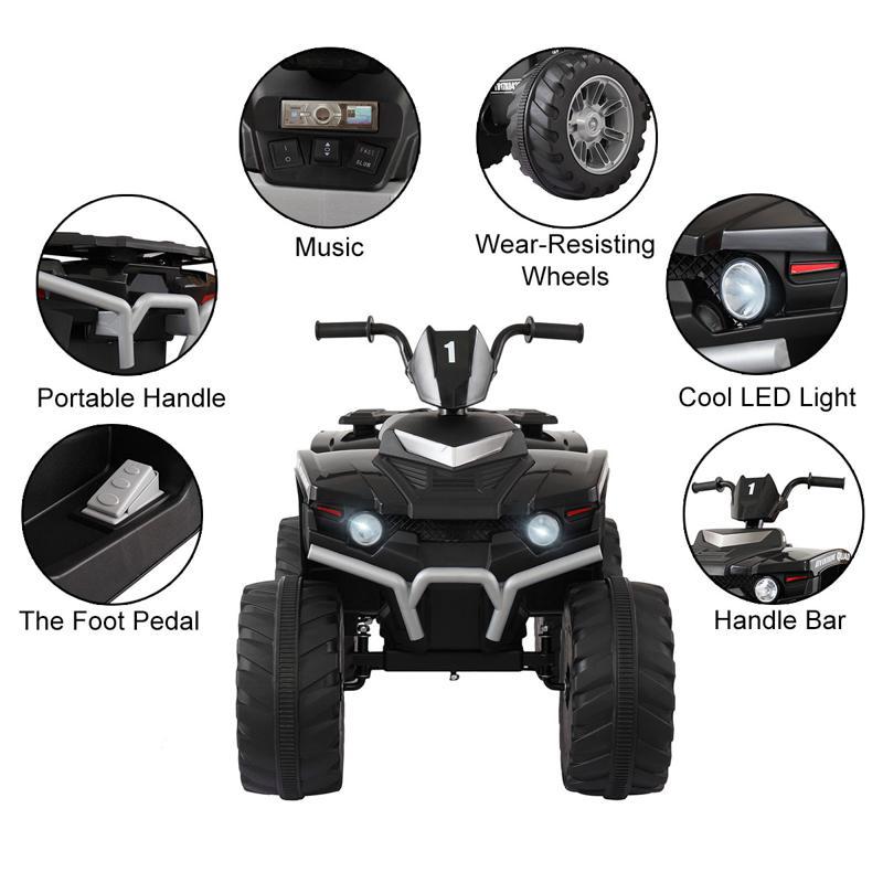 12V Battery Powered Kids Atv Ride On, Black 12v electric atv for kids black 23 1