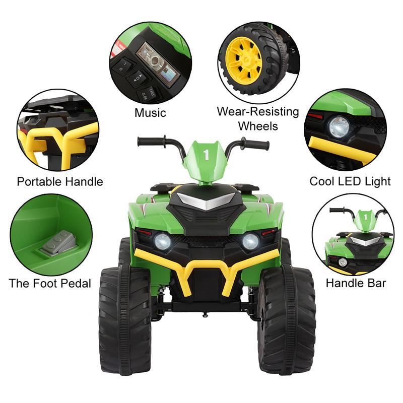 12V Battery Powered Kids Atv Ride On, Green 12v electric atv for kids green 18 1