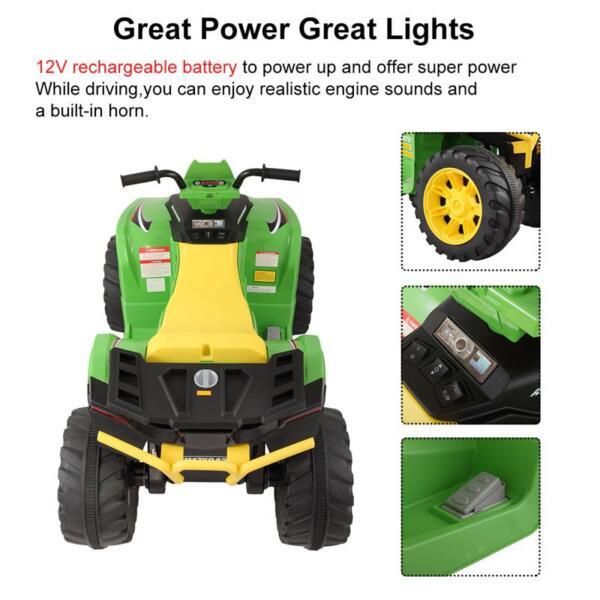12V Battery Powered Kids Atv Ride On, Green 12v electric atv for kids green 19 1