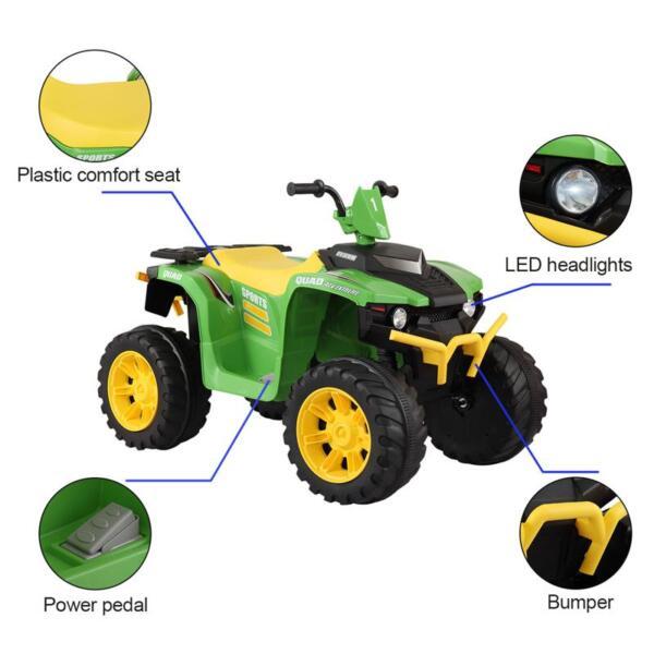 12V Battery Powered Kids Atv Ride On, Green 12v electric atv for kids green 21 1