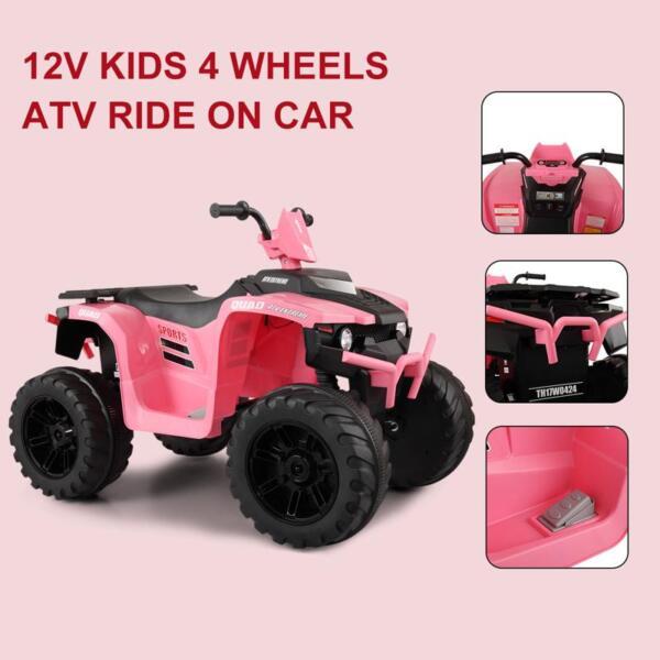 12V Electric Atv for Kids, Pink 12v electric atv for kids pink 19 1