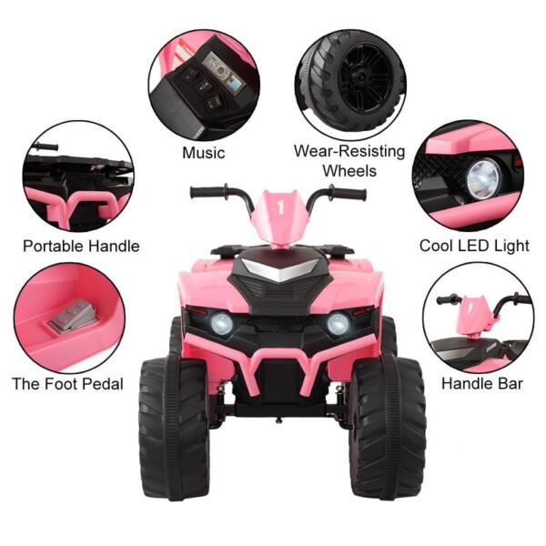 12V Electric Atv for Kids, Pink 12v electric atv for kids pink 21