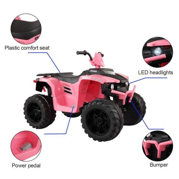 12V Electric Atv for Kids, Pink 12v electric atv for kids pink 24