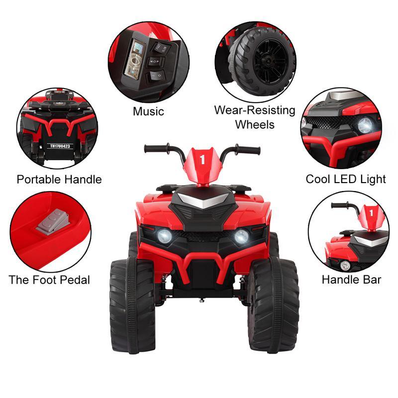 12V Battery Powered Kids Atv Ride On, Red 12v electric atv for kids red 18 1