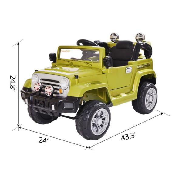 12V Powered Riding Toys Electric Truck with Remote 12v kid ride on electric truck army green 18 1