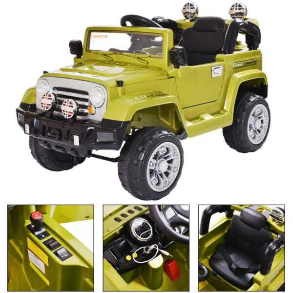 12V Powered Riding Toys Electric Truck with Remote 12v kid ride on electric truck army green 6