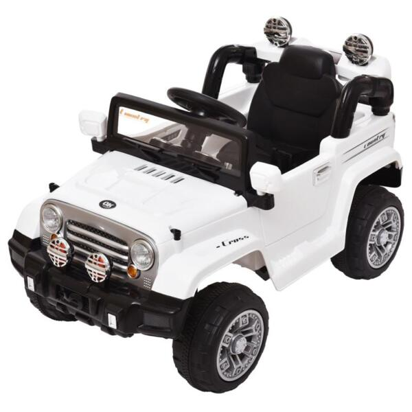 12V Kid Ride on Electric Truck Toy for Kids, White 12v kid ride on electric truck white 12