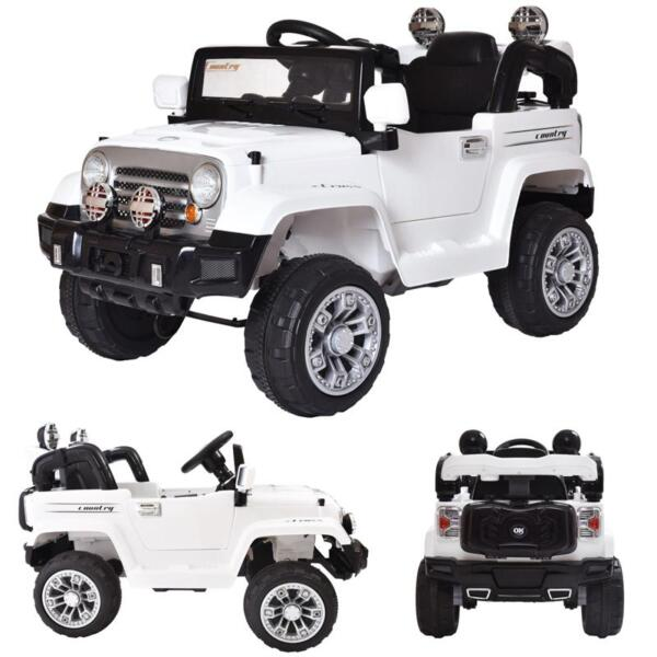 12V Kid Ride on Electric Truck Toy for Kids, White 12v kid ride on electric truck white 7