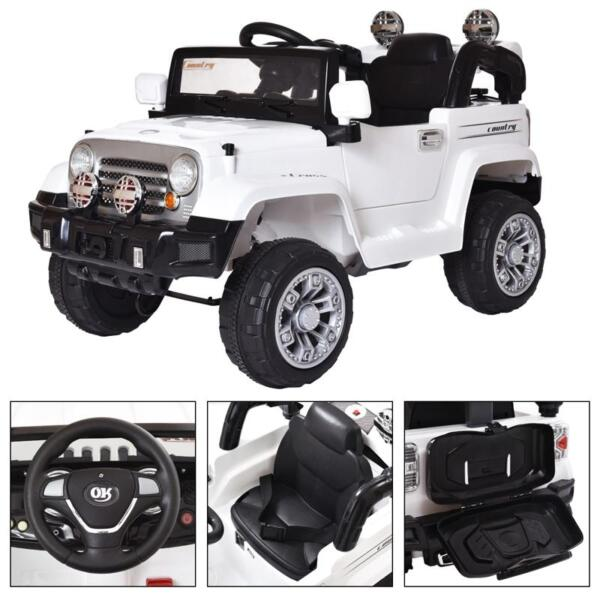 12V Kid Ride on Electric Truck Toy for Kids, White 12v kid ride on electric truck white 8