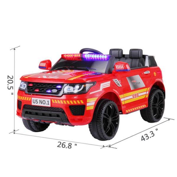 12V Kid Ride on Police Car, Red 12v kid ride on police car red 14 1