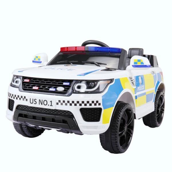 12V Kid Ride on Police Car, White 12v kid ride on police car white 12