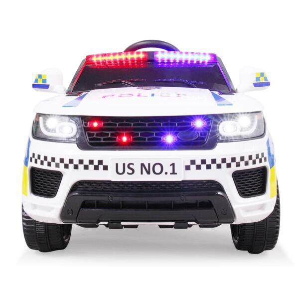 12V Kid Ride on Police Car, White 12v kid ride on police car white 14