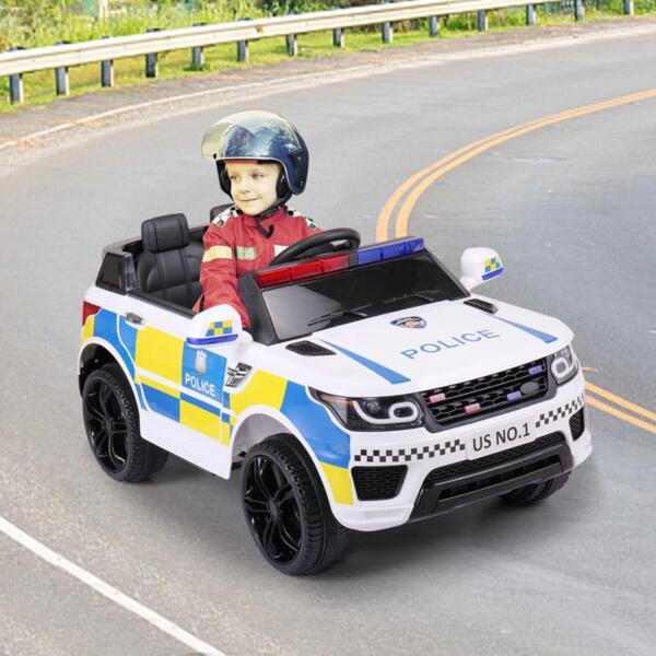 12V Kid Ride on Police Car, White 12v kid ride on police car white 19