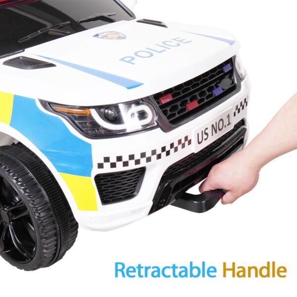 12V Kid Ride on Police Car, White 12v kid ride on police car white 26 1