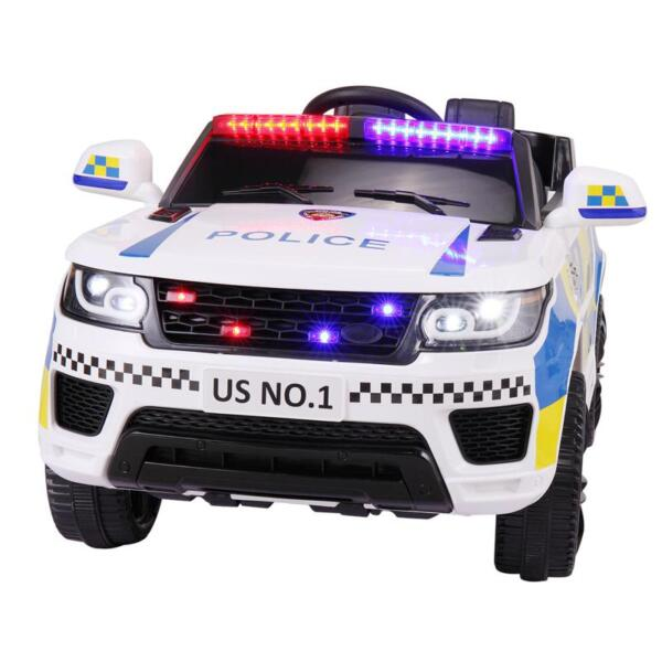 12V Kid Ride on Police Car, White 12v kid ride on police car white 3