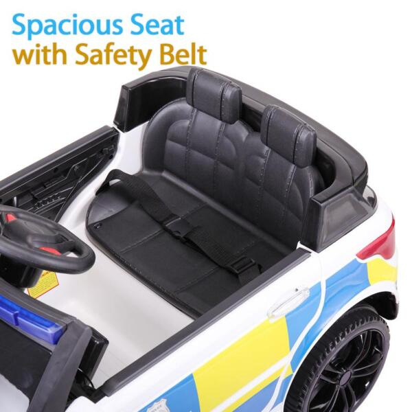 12V Kid Ride on Police Car, White 12v kid ride on police car white 35