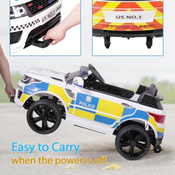 12V Kid Ride on Police Car, White 12v kid ride on police car white 39