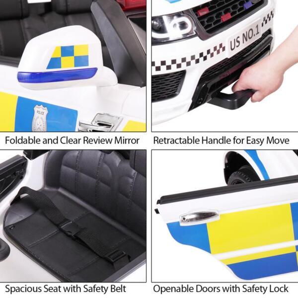 12V Kid Ride on Police Car, White 12v kid ride on police car white 40 1