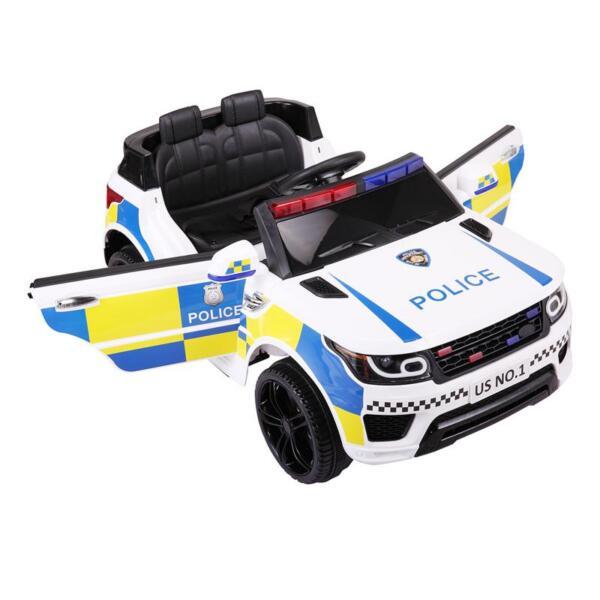 12V Kid Ride on Police Car, White 12v kid ride on police car white 8