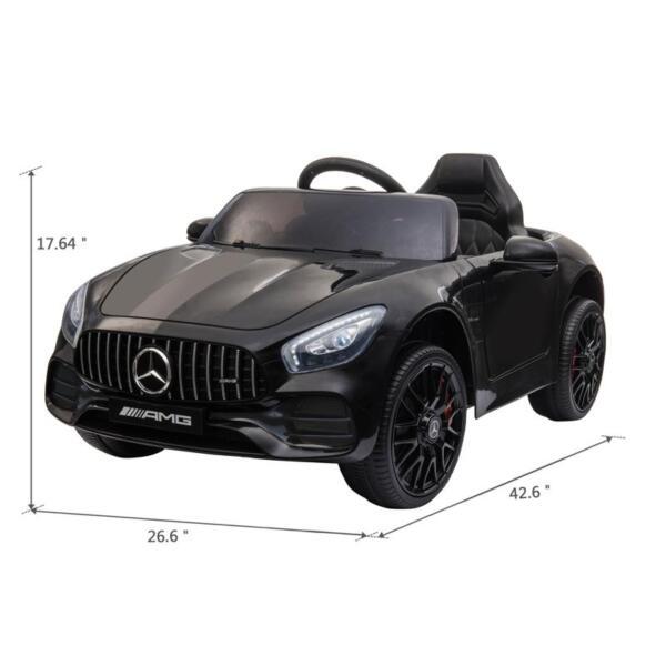 12V Mercedes AMG GT Ride On Car Kids Electric Cars with Remote, Black 12v kids electric car mercedes amg gt ride on toy black 10