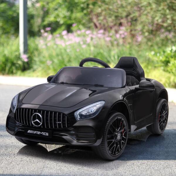 12V Mercedes AMG GT Ride On Car Kids Electric Cars with Remote, Black 12v kids electric car mercedes amg gt ride on toy black 11