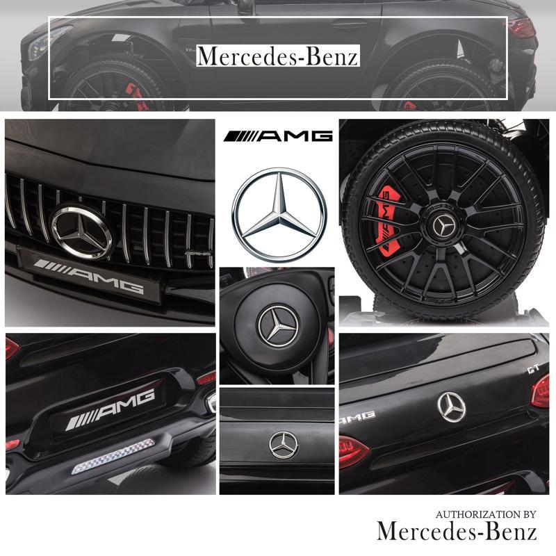 12V Mercedes AMG GT Ride On Car Kids Electric Cars with Remote, Black 12v kids electric car mercedes amg gt ride on toy black 23 2