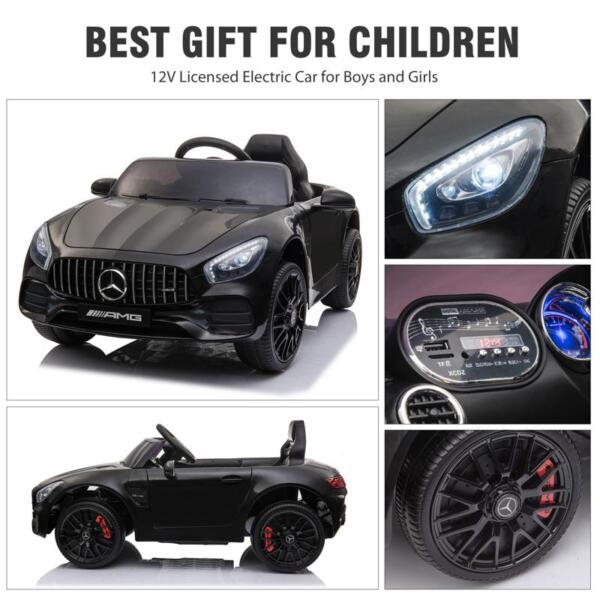 12V Mercedes AMG GT Ride On Car Kids Electric Cars with Remote, Black 12v kids electric car mercedes amg gt ride on toy black 25