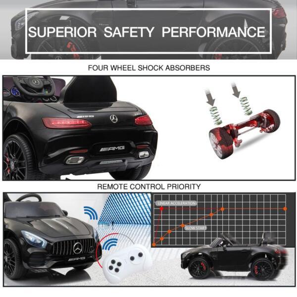 12V Mercedes AMG GT Ride On Car Kids Electric Cars with Remote, Black 12v kids electric car mercedes amg gt ride on toy black 26 2