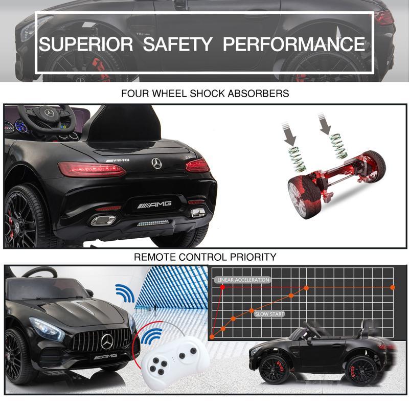 12V Mercedes AMG GT Ride On Car Kids Electric Cars with Remote, Black 12v kids electric car mercedes amg gt ride on toy black 26 3