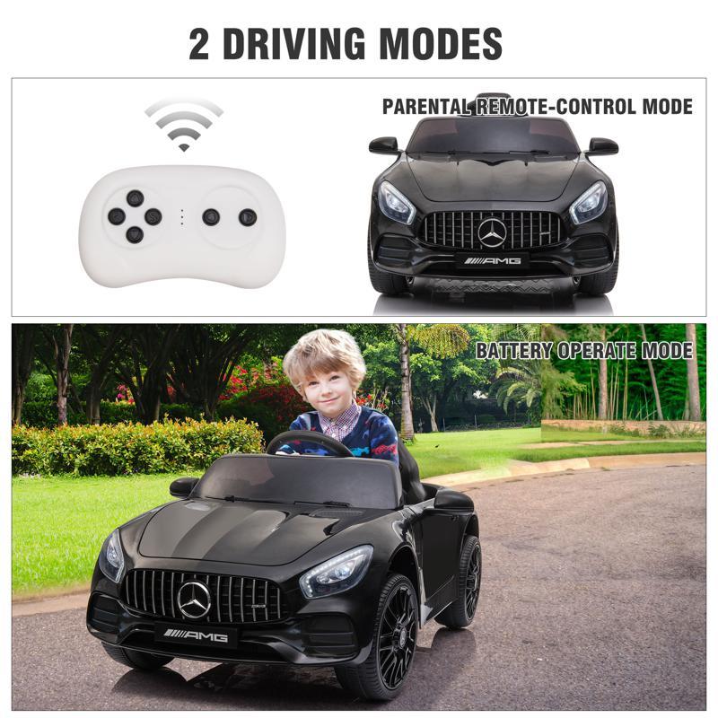 12V Mercedes AMG GT Ride On Car Kids Electric Cars with Remote, Black 12v kids electric car mercedes amg gt ride on toy black 27 2