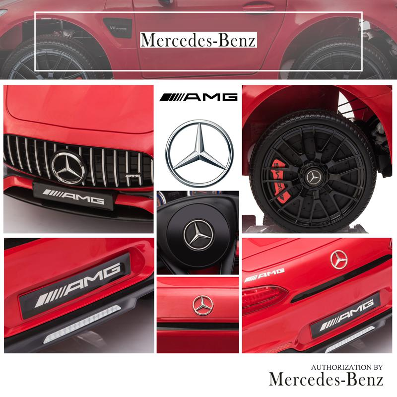 12V Mercedes AMG GT Ride On Car Kids Electric Cars with Remote, Red 12v kids electric car mercedes amg gt ride on toy red 26 2