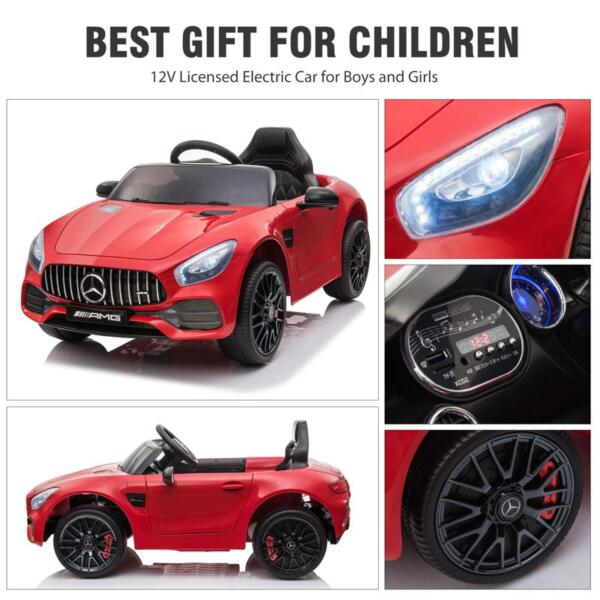 12V Mercedes AMG GT Ride On Car Kids Electric Cars with Remote, Red 12v kids electric car mercedes amg gt ride on toy red 28 2