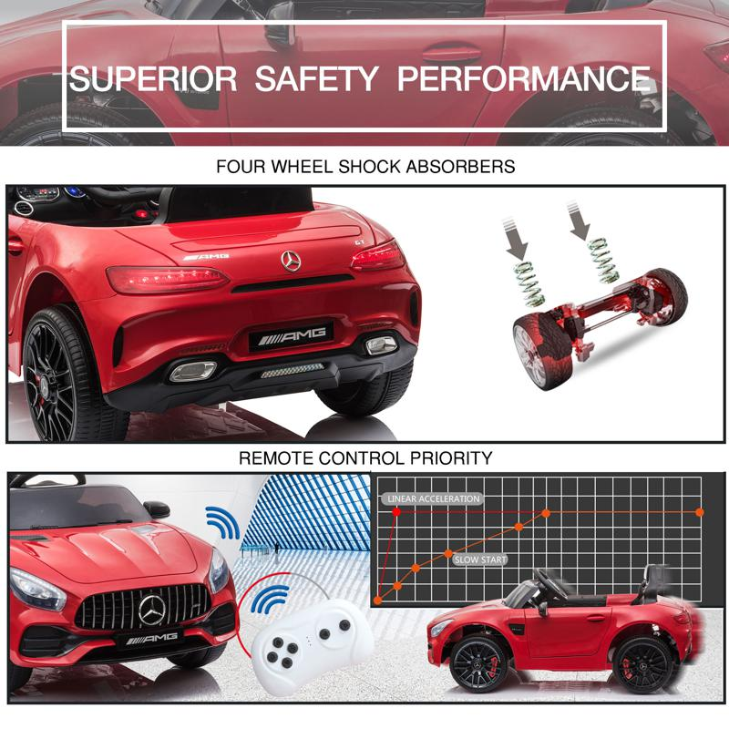 12V Mercedes AMG GT Ride On Car Kids Electric Cars with Remote, Red 12v kids electric car mercedes amg gt ride on toy red 29 1