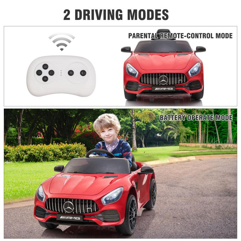 12V Mercedes AMG GT Ride On Car Kids Electric Cars with Remote, Red 12v kids electric car mercedes amg gt ride on toy red 30 2