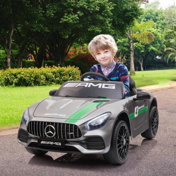 12V Kids Electric Car Mercedes AMG GT Ride On Toy, Silver Grey 12v kids electric car mercedes amg gt ride on toy silver grey 14
